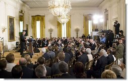 "President George W. Bush delivers remarks on Cuba Wednesday, May 21, 2008, in the East Room of the White House. Commemorating the day as a ""Day of Solidarity with the Cuban People,"" President Bush told his audience, ""As I mentioned, today my words are being broadcast directly to the Cuban people. I say to all those listening on the island today: Your day is coming. As surely as the waves beat against the Malecón, the tide of freedom will reach Cuba's shores.""  White House photo by Joyce N. Boghosian"