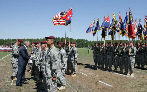 President George W. Bush presents medals to members of the 82nd Airborne Division, Thursday, May 22, 2008, during ceremonies at the 82nd Airborne Division Review in Fort Bragg, N.C. White House photo by Chris Greenberg
