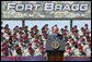 President George W. Bush addresses his remarks at the 82nd Airborne Division Review, Thursday, May 22, 2008, in Fort Bragg, N.C. White House photo by Chris Greenberg