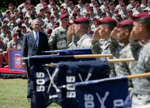 President George W. Bush joins Maj. Gen. David Rodriguez at a review of troops ceremony of the U.S. Army's 82nd Airborne Division, Thursday, May 22, 2008, at Fort Bragg, N.C. White House photo by Chris Greenberg