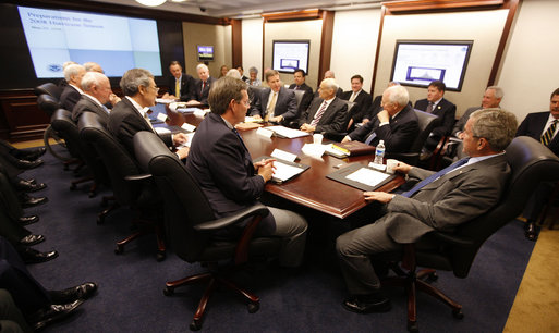 President George W. Bush is briefed on the upcoming 2008 hurricane season during a Homeland Security Council meeting Friday, May 23, 2008, in the Situation Room of the White House. White House photo by Eric Draper