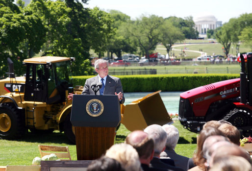President George W. Bush delivers remarks on recognition of World Trade Week Friday, May 23, 2008, on the South Lawn of the White House. White House photo by Joyce N. Boghosian