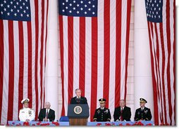 "President George W. Bush delivers remarks during a Memorial Day commemoration ceremony Monday, May 26, 2008, at Arlington National Cemetery in Arlington, VA. ""Here in Washington and across our country, we pay tribute to all who have fallen -- a tribute never equal to the debt they are owed. We will forever honor their memories."" White House photo by Shealah Craighead"