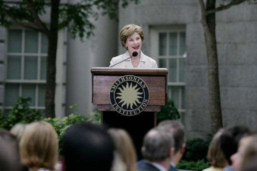 Mrs. Laura Bush addresses guests at a Smithsonian Institution Luncheon Tuesday, May 27, 2008 in Washington, D.C., honoring Mrs. Bush for her contributions to the arts in America. White House photo by Shealah Craighead