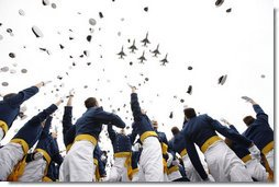 Graduates at the United States Air Force Academy toss their hats at the end of commencement ceremonies Wednesday, May 28, 2008, in Colorado Springs. White House photo by Eric Draper