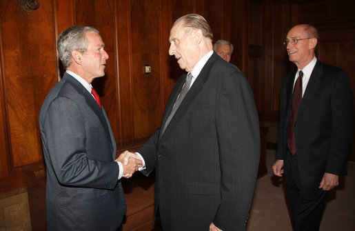 President George W. Bush greets Thomas Monson, President of the Church of Jesus Christ of Latter-day Saints at the church's headquarters Thursday, May 29, 2008, in Salt Lake City. Also pictured at right is Henry Eyring, First Counsel in the First Presidency. White House photo by Eric Draper