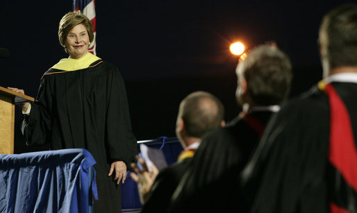 Mrs. Laura Bush smiles during applause after delivering the commencement speech for the Class of 2008 Thursday, May 29, 2008, at Enterprise High School in Enterprise, Alabama. White House photo by Shealah Craighead