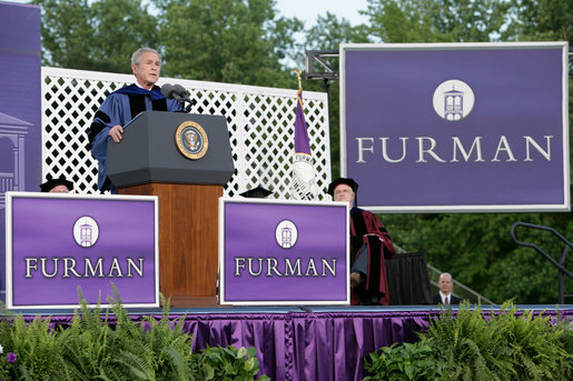 President George W. Bush addresses graduating seniors, faculty and guests as he gives the commencement address to the Class of 2008 at Furman University in Greenville, SC. White House photo by Chris Greenberg
