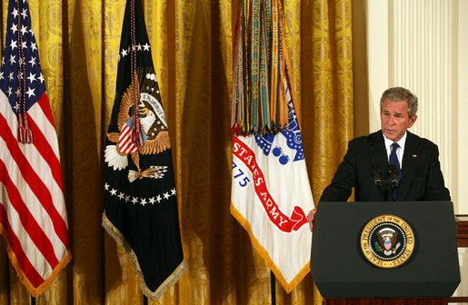 President George W. Bush delivers remarks during the presentation of the Congressional Medal of Honor posthumously to Private First Class Ross A. McGinnis, U.S. Army Monday, June 2, 2008, in the East Room of the White House. President Bush presented the Congressional Medal of Honor posthumously to his parents, Tom and Romayne McGinnis, of Knox, Pennsylvania. White House photo by Joyce N. Boghosian