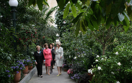 Mrs. Lynne Cheney, Mrs. Laura Bush, and Labor Secretary Elaine Chao are led on a tour of the United States Botanic Garden in Washington, D.C. by Mrs. Grace Nelson, Chair of the Senate Spouses' Luncheon Committee, Tuesday, June 3, 2008, prior to a luncheon honoring Mrs. Bush. White House photo by Shealah Craighead