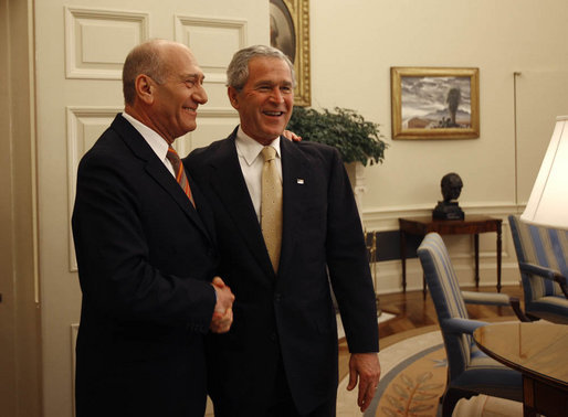 President George W. Bush welcomes Prime Minister Ehud Olmert of Israel to the Oval Office Wednesday, June 4, 2008. White House photo by Joyce N. Boghosian
