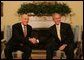 President George W. Bush and Prime Minister Ehud Olmert of Israel, shake hands during a photo opportunity prior to their meeting Wednesday, June 4, 2008, at the White House. White House photo by Joyce N. Boghosian