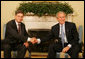 President George W. Bush meets with Prime Minister Jan Peter Balkenende of the Netherlands Thursday, June 5, 2008, during his visit to the Oval Office. The leaders spoke on a variety of issues, including HIV/AIDS in Africa, free trade and climate change. White House photo by Joyce N. Boghosian