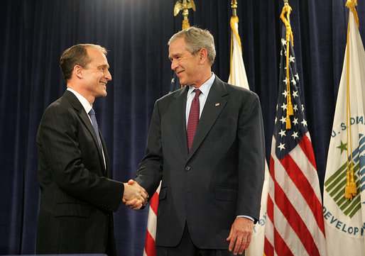 President George W. Bush congratulates Secretary of Housing and Urban Development Steve Preston, Friday, June 6, 2008, following the secretary's ceremonial swearing-in at the Department of Housing and Urban Development in Washington, D.C. White House photo by Joyce N. Boghosian