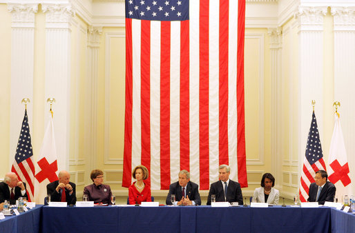 President George W. Bush delivers remarks during a drop-by meeting on the People's Republic of China Earthquake Relief Efforts Friday, June 6, 2008, at the American Red Cross National Headquarters. President Bush met with non-governmental organizations, faith-based groups, and business associations that have been involved in relief work in China in the wake of the recent earthquake. White House photo by Joyce N. Boghosian