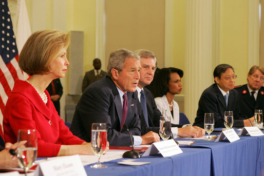 President George W. Bush delivers remarks during a drop-by meeting on the People's Republic of China Earthquake Relief Efforts Friday, June 6, 2008, at the American Red Cross National Headquarters. White House photo by Joyce N. Boghosian