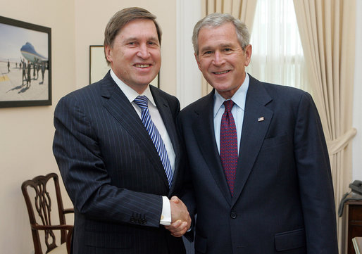 Russia's outgoing Ambassador to the United States, Yuriy Ushakov, paid a farewell courtesy call on the President on June 6, 2008. With over nine years of service in Washington, Ambassador Ushakov is the longest serving post-Soviet Russian Ambassador to the United States. He has played a critical role in increasing mutual understanding between the United States and Russia and advancing the U.S.-Russia partnership to face the global challenges of the 21st century. The President wished Ambassador Ushakov well on his return to Moscow later this month. White House photo by Joyce N. Boghosian