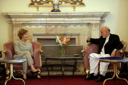 Mrs. Laura Bush meets with President Hamid Karzai of Afghanistan, Sunday, June 8, 2008, at Gul Khana Palace in Kabul. White House photo by Shealah Craighead