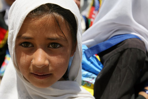 A young girl is seen outside of the Ayenda Learning Center during Mrs. Bush's visit Sunday, June 8, 2008, in Bamiyan, Afghanistan. White House photo by Shealah Craighead
