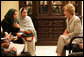 Mrs. Laura Bush speaks with faculty and students from Afghan universities and international schools, Sunday, June 8, 2008, during an unannounced visit to Kabul. Attending the meeting were representatives from Kabul University, American University of Afghanistan, International School of Kabul and the Women's Teacher Training Institute. White House photo by Shealah Craighead