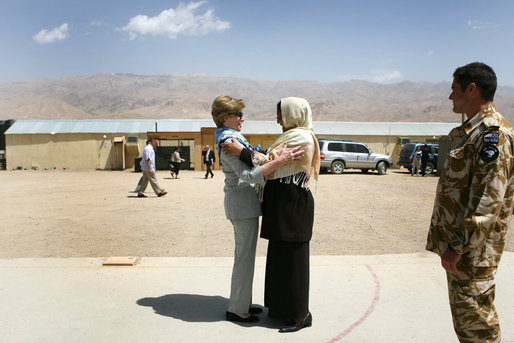 Mrs. Laura Bush is greeted by Governor Habiba Sarabi after arriving in Bamiyan province Sunday, June 8, 2008. Appointed in 2005, the former Minister of Women's Affairs is the only female governor in Afghanistan. White House photo by Shealah Craighead
