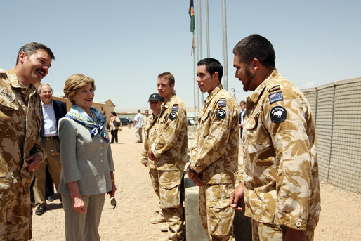 Mrs. Laura Bush greets New Zealand troops during her welcoming ceremony Sunday, June 8, 2008, at the Bamiyan Provincial Reconstruction Team Base. New Zealand's military took over the Afghanistan military compound from U.S. troops in 2003. White House photo by Shealah Craighead