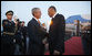 President George W. Bush and Slovenia's Prime Minister Janez Jansa shake hands as President Bush prepared to depart Ljubljana International Airport Monday, June 9, 2008, for nearby Kranj after arriving in the central European country on the first leg of his weeklong visit to the continent. White House photo by Eric Draper