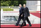 President George W. Bush walks with Slovenia's Prime Minister Janez Janša following a meeting at Brdo Castle Tuesday, June 10, 2008, in Kranj, Slovenia. White House photo by Eric Draper