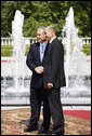 President George W. Bush shakes hands with Slovenia's Prime Minister Janez Janša following a meeting at Brdo Castle Tuesday, June 10, 2008, in Kranj, Slovenia. White House photo by Eric Draper