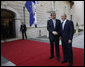 President George W. Bush meets with President Danilo Turk of Slovenia outside the Brdo Castle in Kranj, Slovenia Tuesday, June 10, 2008. The President is scheduled to spend most of the day meeting with members of the European Union before continuing on to Germany this afternoon. White House photo by Eric Draper