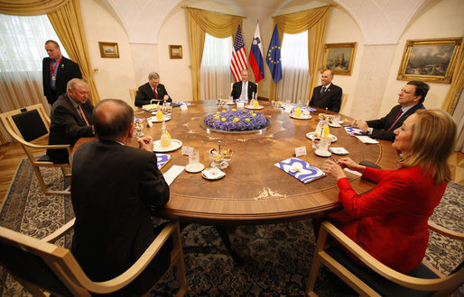 President George W. Bush attends a meeting with a delegation of European Union leaders, joined by National Security Advisor Steve Hadley, left, Tuesday, June 10, 2008 at Brdo Castle in Kranj, Slovenia. Joining President Bush from right are, Slovenia Prime Minister Janez Jansa; European Commission President Jose Manuel Barroso; Benita Ferrero-Waldner, commissioner for External Relations and European Neighborhood Policy; European Union Secretary General Javier Solana and Dimitrij Rupel, Slovenia Minister for Foreign Affairs. White House photo by Eric Draper