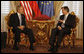 President George W. Bush and President Danilo Turk sit in the Gold Room of Brdo Castle during their meeting Tuesday, June 10, 2008. The President and Mrs. Laura Bush will continue their European visit when they depart later in the afternoon for Gernany. White House photo by Eric Draper