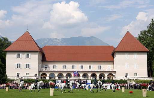 President George W. Bush and Mrs. Laura Bush attend the Lipizzaner Horse Exhibition Tuesday, June 10, 2008, at Brdo Castle in Kranj, Slovenia. White House photo by Shealah Craighead