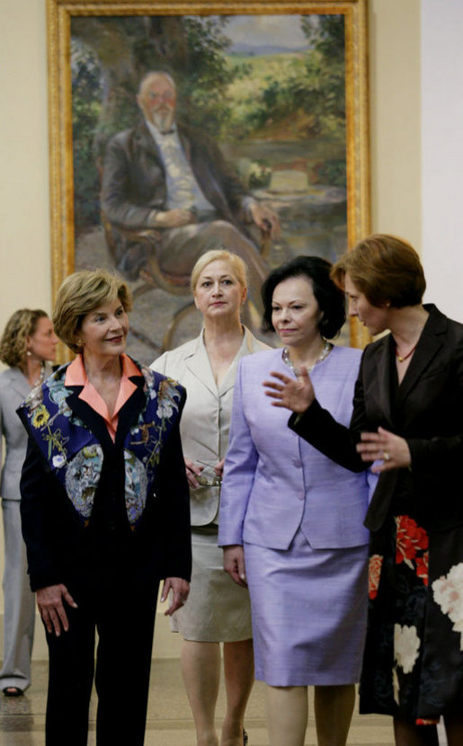 Mrs. Laura Bush and Slovenia's First Lady Barbara Miklic Turk listen as Dr. Barbara Jaki, right, conducts a tour of the National Gallery of Slovenia Tuesday, June 10, 2008 in Ljubljana, Slovenia. White House photo by Shealah Craighead