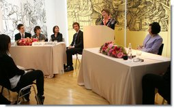 Mrs. Laura Bush addresses the Za in Proti (ZIP) student event Tuesday, June 10, 2008 in Kranj, Slovenia, joined by Slevenia's First Lady Barbara Miklic Turk, right.  White House photo by Shealah Craighead
