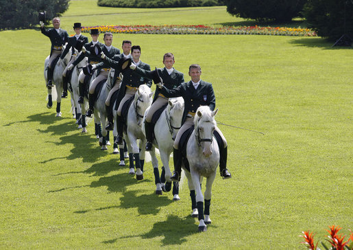 Riders guide Lipizzaner stallions through their paces during an exhibition attended by President George W. Bush and Laura Bush, Tuesday, June 10, 2008, at Brdo Castle in Kranj, Slovenia. White House photo by Eric Draper