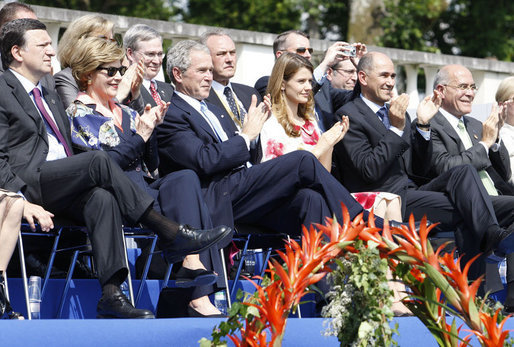 President George W. Bush and Laura Bush applaud during the Lipizzaner stallion exhibition Tuesday, June 10, 2008, at Brdo Castle in Kranj, Slovenia. White House photo by Eric Draper