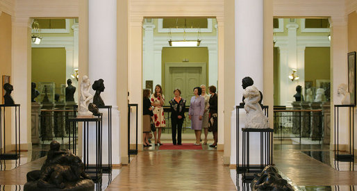 Mrs. Laura Bush and Slovenia's First Lady Barbara Miklic Turk, right, tour the National Gallery of Slovenia Tuesday, June 10, 2008 in Ljubljana, Slovenia. White House photo by Shealah Craighead