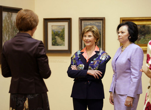 Mrs. Laura Bush and Slovenia's First Lady Barbara Miklic Turk listen as Dr. Barbara Jaki, right, conducts a tour of the impressionists exhibit at the National Gallery of Slovenia Tuesday, June 10, 2008 in Ljubljana, Slovenia. White House photo by Shealah Craighead