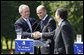 President George W Bush shakes hands with Janez Jansa, Prime Minister of Slovenia, and Jose Manuel Barroso, President of the European Commission, following the United States - European Union Meeting Tuesday, June 10, 2008, at Brdo Castle in Kranj, Slovenia. White House photo by Eric Draper