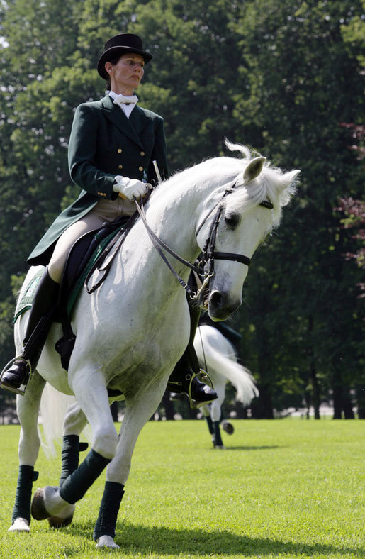 A rider guides a Lipizzaner stallion during an exhibition Tuesday, June 10, 2008, at Brdo Castle in Kranj, Slovenia. White House photo by Chris Greenberg