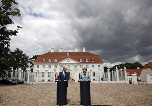 President George W. Bush and Germany's Chancellor Angela Merkel take part in a joint press availability Wednesday, June 11, 2008, at Schloss Meseberg in Meseberg, Germany. White House photo by Eric Draper