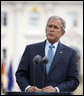 President George W. Bush delivers remarks during joint press availability with Germany's Chancellor Angela Merkel Wednesday, June 11, 2008, at Schloss Meseberg in Meseberg, Germany. White House photo by Eric Draper