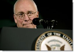 Vice President Dick Cheney listens as an audience member asks a question, Wednesday, June 11, 2008, during a visit to the U.S. Chamber of Commerce in Washington, D.C. White House photo by David Bohrer