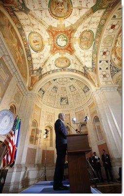 President George W. Bush participates in a joint press availability with Italian Prime Minister Silvio Berlusconi Thursday, June 12, 2008, at the Villa Madama in Rome. White House photo by Eric Draper