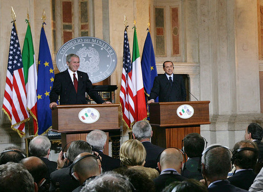 President George W. Bush and Italian Prime Minister Silvio Berlusconi participate in a joint press availability Thursday, June 12, 2008, at the Villa Madama in Rome. White House photo by Chris Greenberg