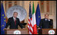 President George W. Bush and Italian Prime Minister Silvio Berlusconi listen to a reporter's question during their joint press availability Thursday, June 12, 2008, at the Villa Madama in Rome. White House photo by Chris Greenberg