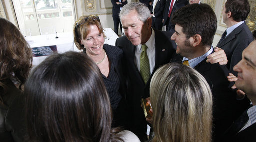President George W. Bush speaks with young entrepreneurs following their roundtable meeting on business exchanges between the U.S. and Italy Thursday, June 12, 2008, at the Villa Aurelia in Rome. White House photo by Eric Draper
