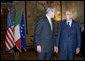 President George W. Bush meets with Italian President Giorgio Napolitano at the Quirinale Palace Thursday, June 12, 2008 in Rome. White House photo by Eric Draper