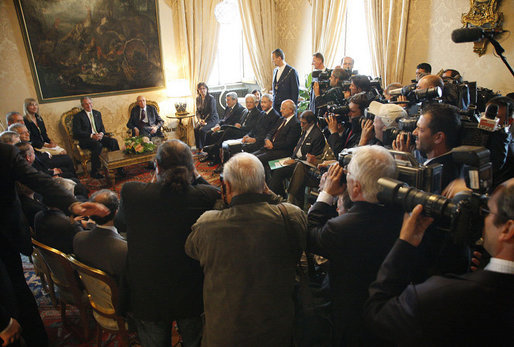 President George W. Bush sits with Italian President Giorgio Napolitano, right, during a press availability at the Quirinale Palace Thursday, June 12, 2008 in Rome. White House photo by Eric Draper